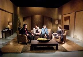 Santiago, Luis y José con Cristina Pacheco