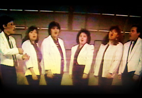 1990 - Voz en Punto en 1990, los fundadores: José Galván, Lourdes Vilchis, María Luisa Díaz, Elisa Huízar, Sonia Solórzano y Hugo García. Escena del Programa hoy en la Cultura de Canal 11